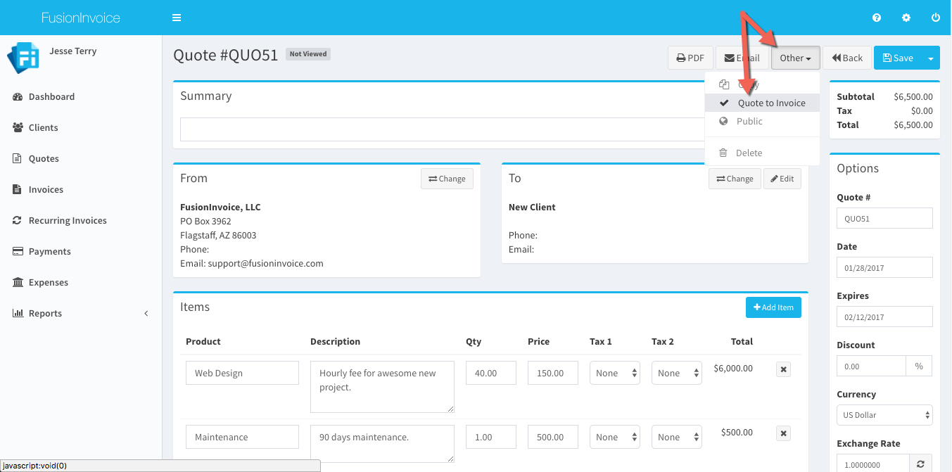 FusionInvoice Self Hosted Invoicing For Freelancers And Small - Invoice quote